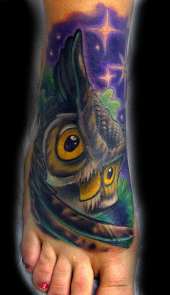 Tim Senecal - Owl foot tattoo